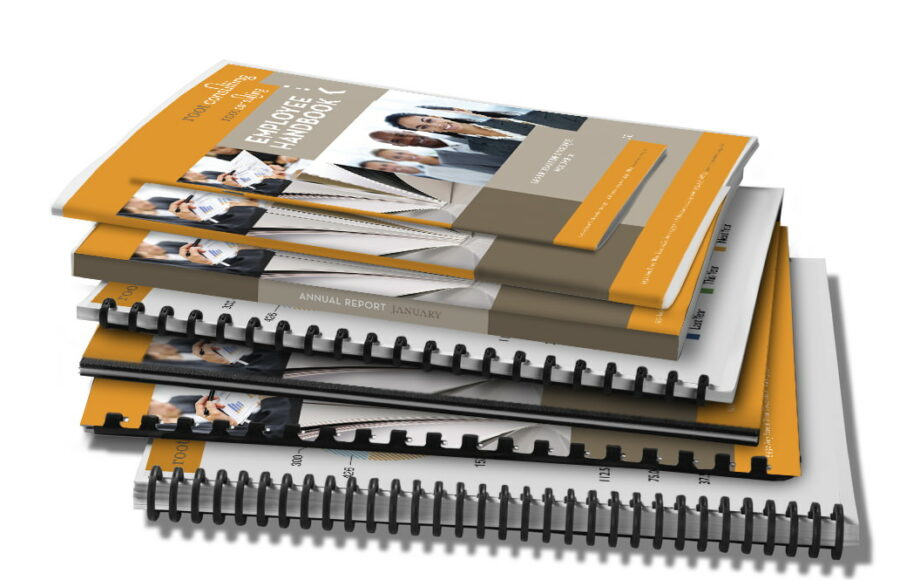 Product catalogues, annual reports, booklets, price lists and manuals